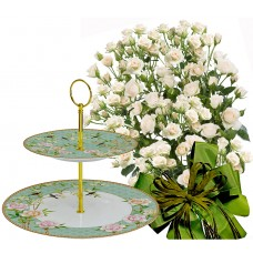 Olive # 3 - Roses and 2 Tier plates - Palace Garden Aqua