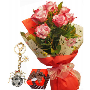 Rosie # 3 - Roses and Key chain