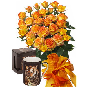 Alegra # 5 - Rose Bouquet  and Tiger Mug