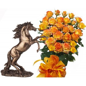 Alegra # 6 - Rose Bouquet  and Statuette Stallion