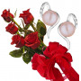 Bouquet of roses and Pink Pearl Earrings Leila