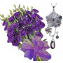 Bouquet of lisianthus and Jaklin - Pinctada Necklace