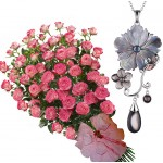 Bouquet of roses and Jaklin - Pinctada Necklace