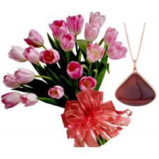 Isabella # 5 - Bouquet of Tulips and Red Tiger Eye Necklace