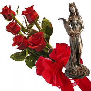 Bouquet of roses and Fortune - Statuette