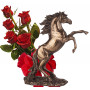 Bouquet of roses and  Stallion Statuette