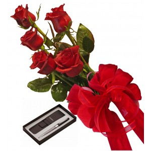Bouquet of roses and Pierre Cardin Pen