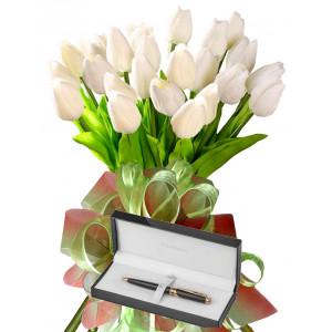 Bianca  # 4 - Tulip Bouquet and Pierre Cardin Pen
