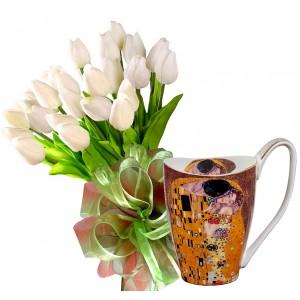 Tulip bouquet and THE KISS - Grande Mug