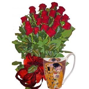 Червени рози и Голяма чаша за кафе
