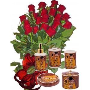 Червени рози и Комплект за баня