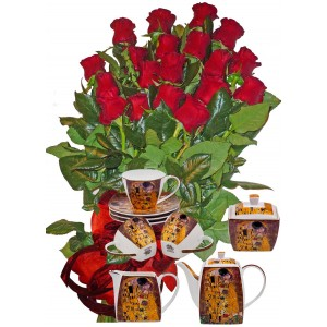 Червени рози и Сервиз за  кафе