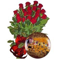 Червени рози и Чиния за стена порцелан