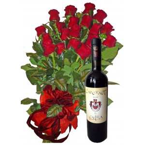 Топло посрещане - рози и вино