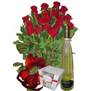 Мислейки за теб - рози, вино и бонбони