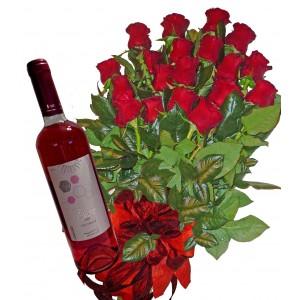 Червени рози и вино