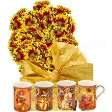 "Ashley # 2 - Flowers and Set of four cups ""Four seasons"""