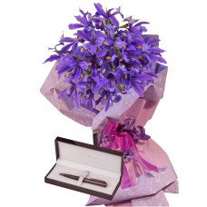Irises # 1 - Irises Bouquet and Pierre Cardin pen