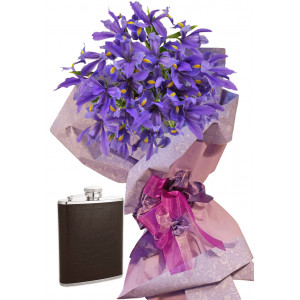 Irises # 4 - Flowers and Drinking Flask