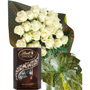 Warm wishes in white - roses and chocolates