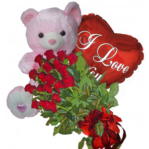 From My Heart -Roses, balloon & teddy