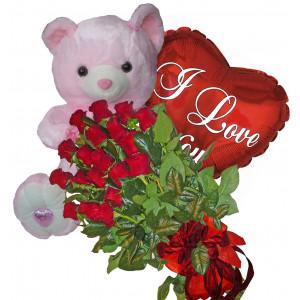 С цялата си любов - Рози, балон и мече
