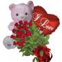 From My Heart -Roses, balloon & teddy