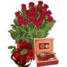 Червени рози и Кутия за пури с овлажнител