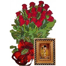 Red roses & Ceramic wall plaque