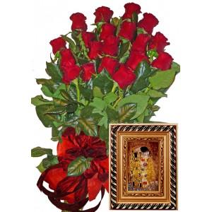 Червени рози и картина