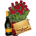 Perfect gift - roses, wine and chocolates