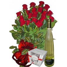 Thinking of you - roses, wine and chocolates