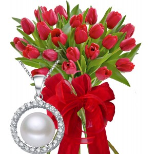 Monica # 2 - Tulips bouquet and silver pendant