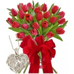 Monica # 6 - Tulips Bouquet and heart shape necklace