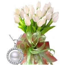 Bianca # 1 - Tulips bouquet and silver and pearl pendant
