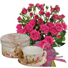 Geraldine # 6 - Roses and Porcelain Set Cup and Saucer