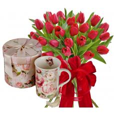 Monica # 3 - Tulips bouquet and Porcelain Cup