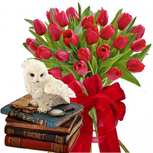 Monica # 8 - Flowers &  Eagle owl on books