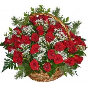 Roses for true love - Basket of roses