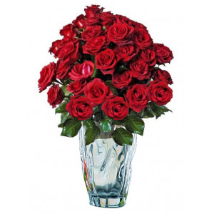 Хубава жена - Рози в кристална ваза