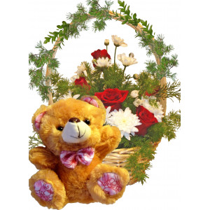 Key to my Heart - Rose basket and Teddy bear