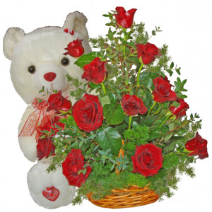 Romantic Message - Rose basket and teddy