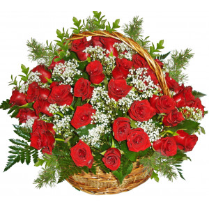 Roses for true love - Basket of roses