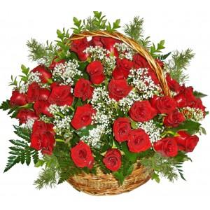С истинска любов - кошница с рози