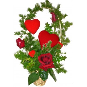 За моята любима - рози в кошничка