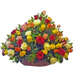 Галатея - Кошница с многоцветни рози