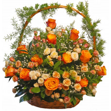 Maritsa - Basket with multicolored roses.