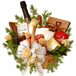 LINDT and  wine - Wedding basket