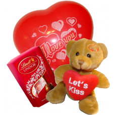 Hugs & Kisses! Teddy, balloon and chocolates